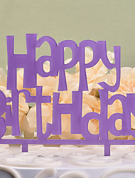 Purple Cake Topper Happy Birthday