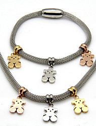 Fashion Stainless Steel Teddy Bear Magnet Hook Necklace and Bracelet Jewelry Set(1Set)