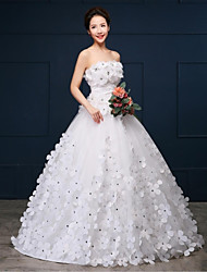 Ball Gown Wedding Dress - White Chapel Train Strapless Organza / Satin