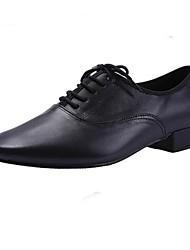 Non Customizable Men's Dance Shoes Modern Leather Flat Heel Black