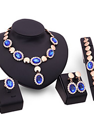 Women Wedding Bridal Blue Crystal Round Sequin Elegant Dinner Necklace Adjustable Ring Bracelet Earrings Four Piece Set