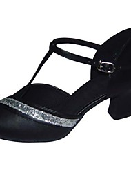Non Customizable Women's Dance Shoes Latin/Swing /Salsa /Samba /Leatherette/ Paillette Stiletto Heel Black/Silver