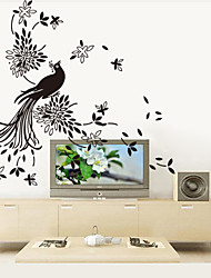 9252 Art Picture with Peacock Wall Stickers Chinese painting Wall Decals For Living Room DIY Home Decorations