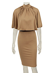Women Two-piece Dress Cape Open Back Bandage Crop Tops Bodycon Midi Pencil Skirt Party Clubwear