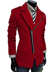 Men's Fashion Irregular Pockets Oblique Zipper Large Lapel Wool Coat