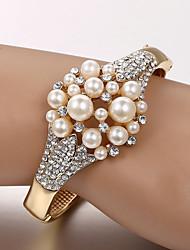 Bracelet Bracelets de tennis Perle Alliage Strass Mariage Soirée Quotidien Décontracté Regalos de Navidad Bijoux Cadeau Doré,1pc