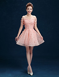 Short/Mini Lace Bridesmaid Dress A-line Off-the-shoulder