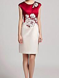 Women's Round Neck Flower Plus Size Dress , Satin Knee-length Sleeveless