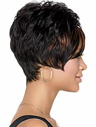 moda cabelo preto curto peruca sintética das mulheres