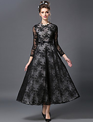 AOFULI Fashion Women Winter Vintage Slim Embroidery Black Lace Elegance Plus Size Casual/Party/Work Long Dress