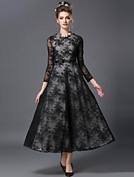aofuli mulheres moda inverno do vintage fino bordado elegância laço preto plus size casual / festa / trabalho vestido longo