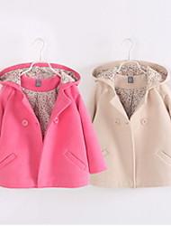 Girls Woolen Double-breasted Coat