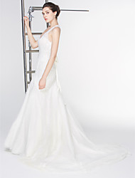 Lanting Bride Trumpet/Mermaid Wedding Dress-Court Train V-neck Lace