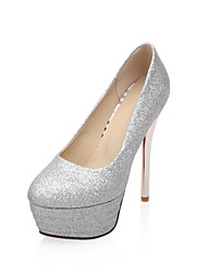Women's Wedding Shoes Platform / Round Toe Heels Wedding / Party & Evening / Dress Red / Silver