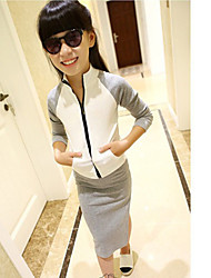 Girl's Cotton Leisure Sports Zipper Jacket + Side Split Skirt  Two-Piece Outfit
