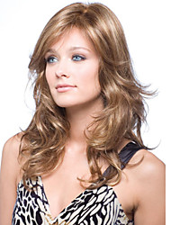 Capless Blonde Long High Quality Natural Curly Hair Synthetic Wig with Side Bang