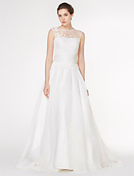 Lanting Bride® A-line Wedding Dress Court Train Scoop Chiffon / Lace with Bow / Lace