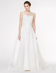 Lanting Bride A-line Wedding Dress-Court Train Scoop Chiffon / Lace