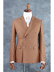 Suits Tailored Fit Notch Double Breasted Four-buttons Cotton Blend Checkered / Gingham 2 Pieces Light Brown