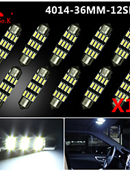 10X NEW White 36mm 12 4014 SMD Festoon Dome Map Interior LED Light Lamp DE3175 3022 12V