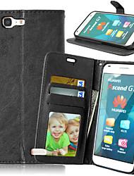 Corpo Completo carteira / Entrada de Cartão / com suporte Cor Única Couro Ecológico Duro Case Capa Para HuaweiHuawei P8 Lite / Huawei P7
