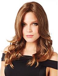 capless longue des femmes élégantes naturel sain fille d'onde de cheveux bruns bouclés perruques
