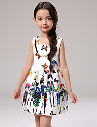 Girl's White Dress , Floral / Dresswear Cotton / Polyester All Seasons