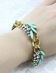 Fashion Jewelry Retro Rhinestone Leaf Bracelet