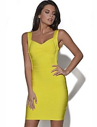 Women's Solid Bodycon Party Strap Sleeveless Body Shaper Slim Dress More Colors Can Available