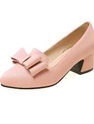 Women's Shoes PVC / Leatherette Chunky Heel Heels Heels Wedding / Office & Career / Dress / Casual Blue / Pink