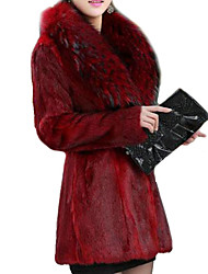 Women's Solid Black/Red Fur Coat,Long Sleeve Faux Fur
