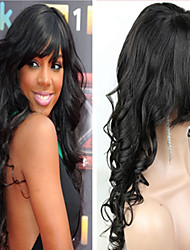 18Inch Brazilian Human Hair Wavy Full lace Wig With Bang