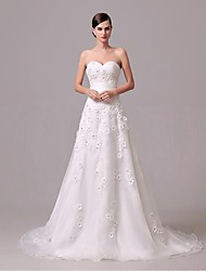 A-line Wedding Dress Court Train Sweetheart Crepe with Button / Embroidered / Flower / Lace / Ruffle