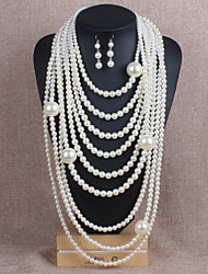 Jewelry Necklaces / Earrings Jewelry set Pearl Wedding / Party Imitation Pearl 1set Women White / Yellow Gold Wedding Gifts