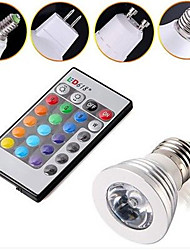 3W color changing RGB LED Bulb Light Lamp E14 E27 GU10 GU5.3 + Remote Control