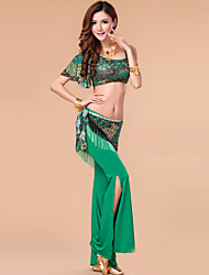 Belly Dance Outfits Women's Performance Milk Fiber Draped 3 Pieces Green Belly Dance Top / Hip Scarf / Pants