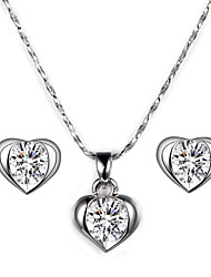 HKTC Heart Stellux Crystal Stud Earrings and Necklace Wedding Party Jewelry Set for Women