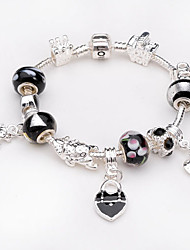 Women jewelry 925 Sterling Silver bracelet Murano Glass Crystal European Beads Strand heart charm Beads bracelets BLH034
