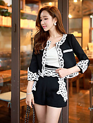 Women's Embroidery Spring Slim Color Block Black Set,Round Neck Long Sleeve Short Coat