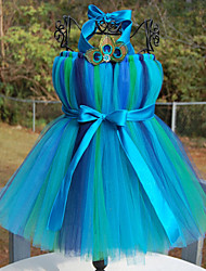 Ball Gown Tea-length Flower Girl Dress - Tulle / Polyester Sleeveless Halter with