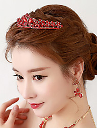 Chinese Red Rhinestone / Alloy Headpiece - Wedding / Special Occasion Tiaras