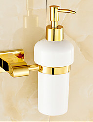 TI- PVD Finish Brass Material Wall Mounted Ceramic Soap Dispenser