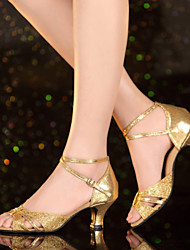 Non Customizable Women's Dance Shoes Leather / Patent Leather Leather / Patent Leather Latin / Jazz Heels Cuban HeelPractice / Beginner /