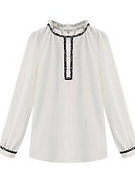 Women's Solid White Blouse , Ruff Collar Long Sleeve