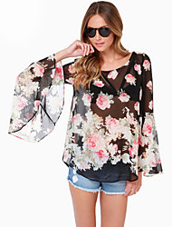 Women's Casual/Daily Simple Summer Blouse,Floral Round Neck Long Sleeve Black Polyester Medium