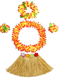 40cm Kid's Fire-Proof Double Layers Hawaiian Carnival Hula Dress Wristbands Necklace and Headpiece