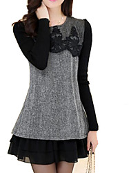 Women's Work Plus Size Dress,Color Block Crew Neck Above Knee Long Sleeve Gray Wool / Polyester / Others Spring / Fall / Winter