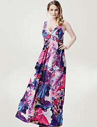 Women's Beach Plus Size / Swing Dress,Floral Deep V Maxi Sleeveless Purple Polyester Spring