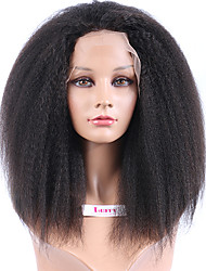 Realistic Looking Hair Malaysian kinky Straight Lace Front Wig With Baby Hair Natural Color Glueless Front Lace Wigs
