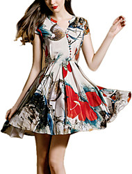 Women's Vintage / Casual / Work Print Skater Dress , V Neck Above Knee Rayon